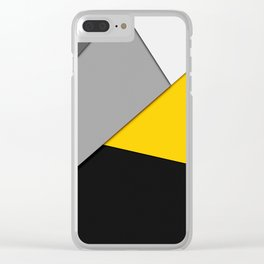 Simple Modern Gray Yellow and Black Geometric Clear iPhone Case