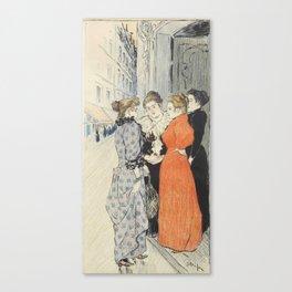 """Théophile Alexandre Steinlen """"Les rues amoureuses"""" Canvas Print"""