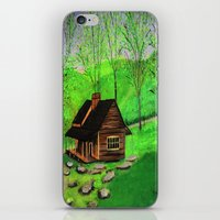 cabin iPhone & iPod Skins featuring Hillside cabin by maggs326