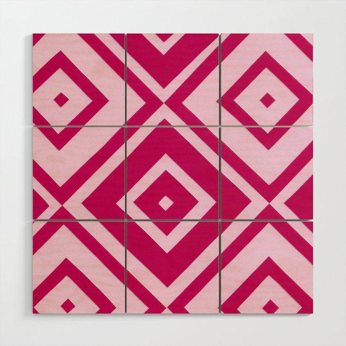 Pink Diamonds Wood Wall Art