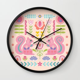 Pink Squirrels In A Scandinavian Garden Wall Clock