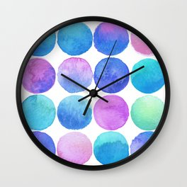 Watercolor Polka in Mermaid Wall Clock