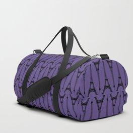 Black Eiffel Towers on Ultra Violet Purple Duffle Bag