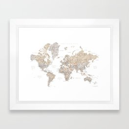 World map in spanish, taupe and light brown watercolor Framed Art Print