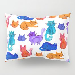 Fluffy Watercolor Cat Pattern Pillow Sham