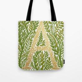 Botanical Metallic Monogram - Letter A Tote Bag