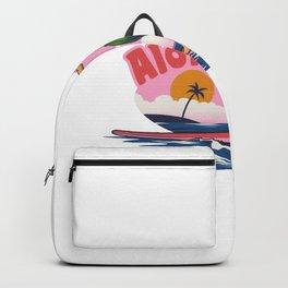 Hand Drawing Hawaiian Girl Surfing Backpack