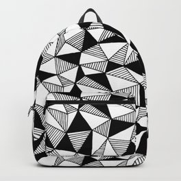 Abstract scandi pattern Polygon black and white design Backpack