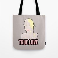 britney spears Tote Bags featuring Britney Spears: True Love by Christopher Holden Mathews