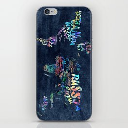 world map typography watercolor 4 iPhone Skin