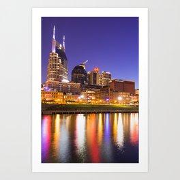 Nashville Skyline Nights - Vertical Art Print