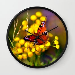 Autumnal Blossoms and Peacock Butterfly Wall Clock