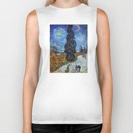 Vincent van Gogh - Road with Cypress and Star Biker Tank