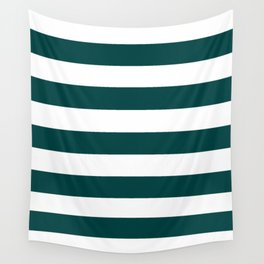 Rich black - solid color - white stripes pattern Wall Tapestry