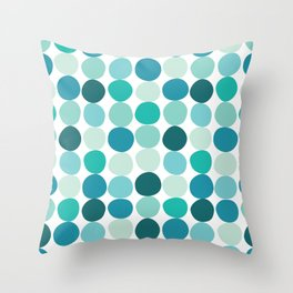 Midcentury Modern Dots Blue Throw Pillow