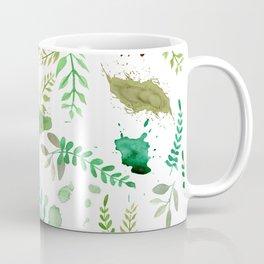 Green Leaves, Paint Splatter, Pattern Coffee Mug