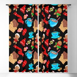 Cozy winter Christmas pattern. Happy gingerbread men, chocolate, hot cocoa, candy. Blackout Curtain