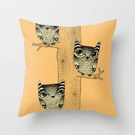 Owls (orange) Throw Pillow