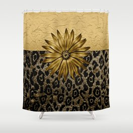 Animal Print Brown and Gold Animal Medallion Shower Curtain