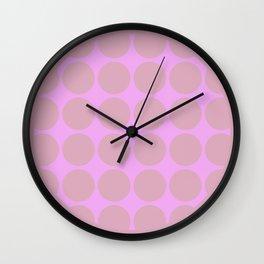 WILLOW - Pink Mid Century Modern Graphic Design Pattern Wall Clock