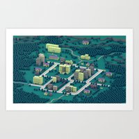 earthbound Art Prints featuring EarthBound - Town of Onett [Night] by Timothy J. Reynolds