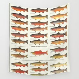 Illustrated Trout, Salmon and Char Fishing Identification Chart of North America Wall Tapestry