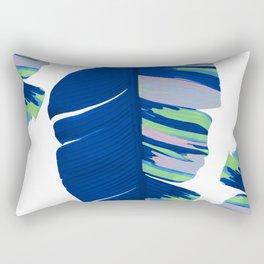 Elegant Bold Blue Tropical Banana Leaves Design Rectangular Pillow