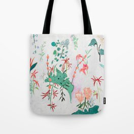 Abstract Jungle Floral on Pink and White Tote Bag
