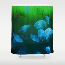 Moon Jellyfish - Blue and Green Shower Curtain