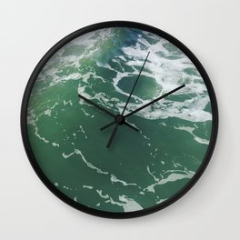 Sea Foam Green Ocean Wave Photograph Wall Clock