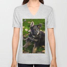 Little German Shepherd puppy Unisex V-Neck