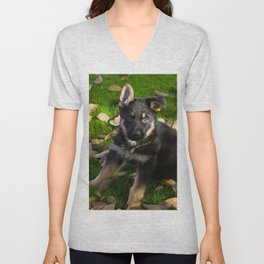 Little German Shepherd puppy Unisex V-Neck