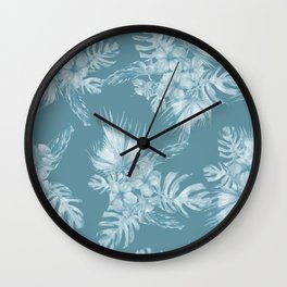 Teal Island Escape Palm Leaves + Flowers Wall Clock