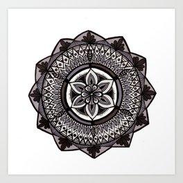 Shades of Grey Mandala Art Print