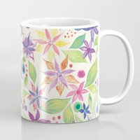 leah flores Mugs featuring Flores by JuanaViEs