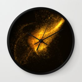 Eye from orange glowing particles Wall Clock