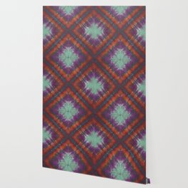Tie Dye Geometry Black Orange Purple Green Wallpaper