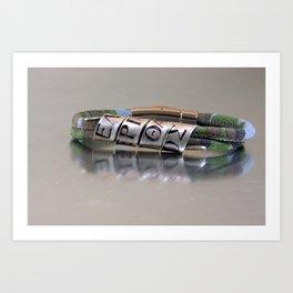 ΕΛΕΥΘΕΡΙΑ Η ΘΑΝΑΤΟΣ- Custom Greek Letters, Personalized Leather Men's Bracelet Art Print