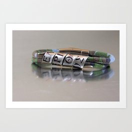 ΕΛΕΥΘΕΡΙΑ Η ΘΑΝΑΤΟΣ- Custom Greek Letters, Personalized Leather Men's Bracelet Art Print