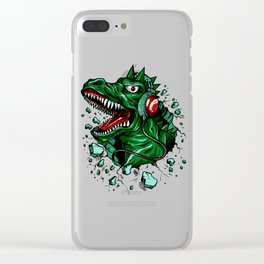 Dino with Headphones Green British Racing Clear iPhone Case