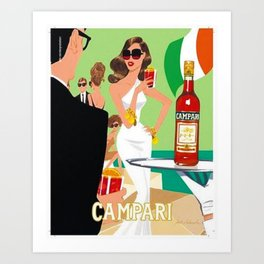 1970 Campari Vintage Cordial Italian Riviera Amalfi Coast Aperitif Advertisement Poster Art Print