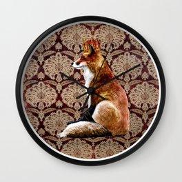 The Fox King - Mughal Textile Wall Clock