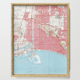 Vintage Map of Long Beach California (1964) 4 Serving Tray