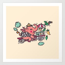 Little elephant on his vendor selling fruits Art Print