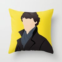 sherlock Throw Pillows featuring Sherlock by Jessica Slater Design & Illustration