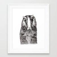 badger Framed Art Prints featuring Badger by Meredith Mackworth-Praed