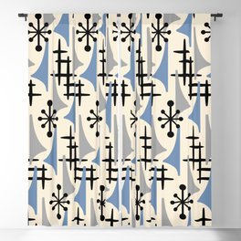 Mid Century Modern Atomic Wing Composition Blue & Grey Blackout Curtain
