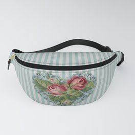 Knitted vintage roses heart in tapestry syle Fanny Pack