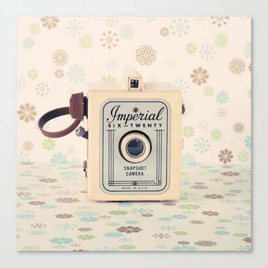 Retro Film Camera on Beige - Cream Pattern Background  Canvas Print