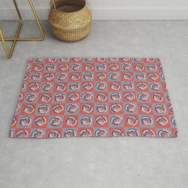 Spinning colourful rings on red and grey chessboard Rug